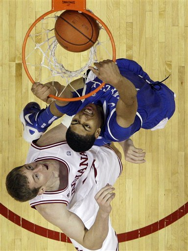 Kentucky's Anthony Davis dunks against Indiana's Cody Zeller during the first half of an NCAA college basketball game, Saturday, Dec. 10, 2011, in Bloomington, Ind. Indiana won 73-72. (AP Photo/Darron Cummings)
